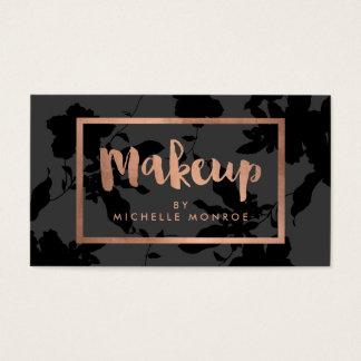 Black Floral Rose Gold Text Makeup Artist Business Card