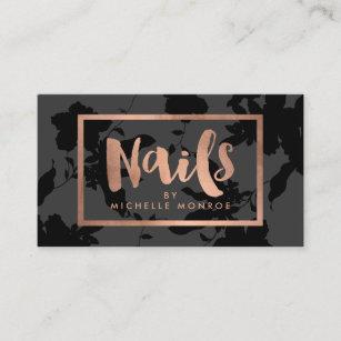 Nail technician business cards zazzle black floral rose gold text nail salon business card colourmoves