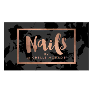 Black Floral Rose Gold Text Nail Salon Business Card