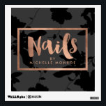 """Black Floral Rose Gold Text Nail Salon Wall Sticker<br><div class=""""desc"""">Coordinates with the Black Floral Rose Gold Text Nail Salon Business Card Template by 1201AM. This elegant personalized wall decal features a handwritten text treatment for &quot;Nails&quot; followed by your name or business name. Perfect for nail salons and nail artists! Created in a faux metallic rose gold foil effect with...</div>"""