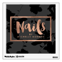 Black Floral Rose Gold Text Nail Salon Wall Sticker