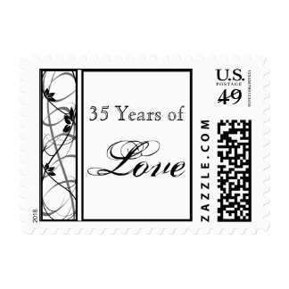 Black Floral Scroll Border Anniversary Love Stamp