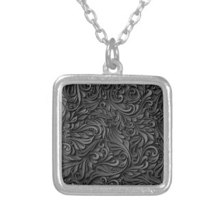 Black Floral Silver Plated Necklace