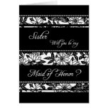 Black Floral Sister Maid of Honor Invitation Card