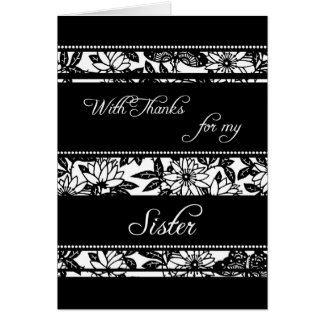 Black  Floral Sister Thank You Maid of Honor Card