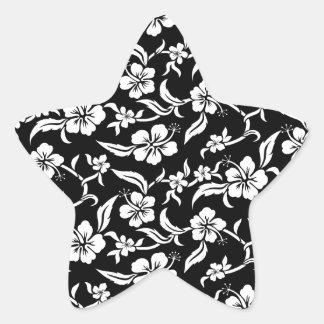 Black Floral Star Sticker