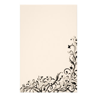 Black Floral Stationary Personalized Stationery