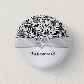 Black floral swirls damask Wedding Bridesmaid Pinback Button