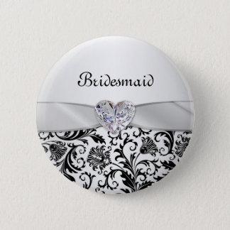 Black floral swirls damaskWedding Bridesmaid Button