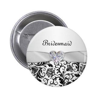 Black floral swirls damaskWedding Bridesmaid Pinback Button