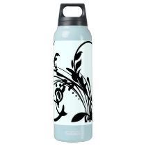 Black Floral Swirls Insulated Water Bottle