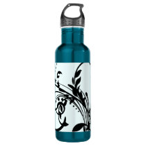 Black Floral Swirls Stainless Steel Water Bottle