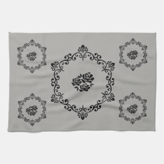 black floral tattoo and frame kitchen towel