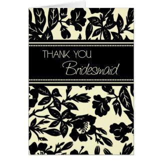 Black Floral Thank You Bridesmaid Card