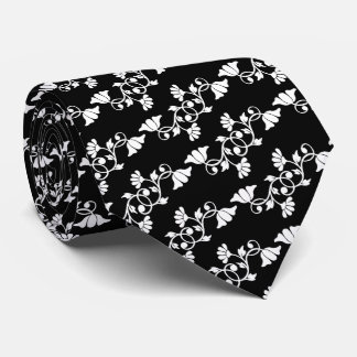 Black Floral Tie with White Flowers