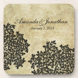 Black Floral Vintage Beverage Coaster