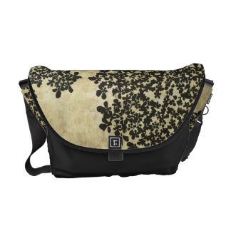 Black Floral Vintage Courier Bag
