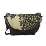 Black Floral Vintage Messenger Bag