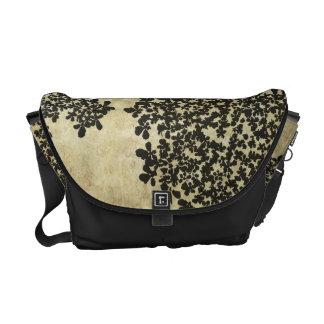 Black Floral Vintage Courier Bag