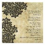 Black Floral Vintage Square Wedding Invitations
