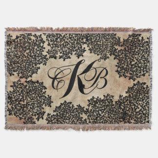 Black Floral Vintage Throw Blanket