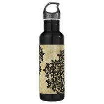 Black Floral Vintage Water Bottle