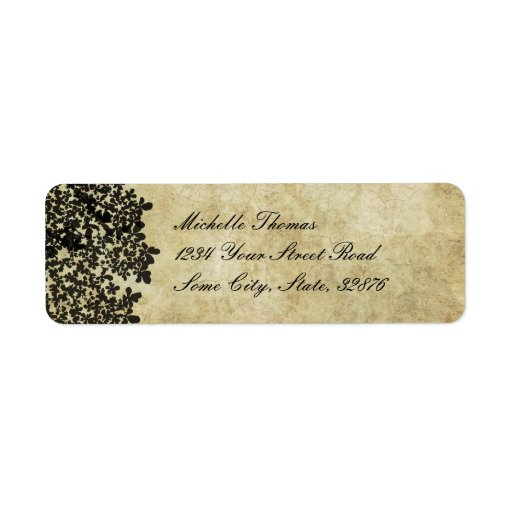 Black Floral Vintage Wedding Address Custom Return Address Labels