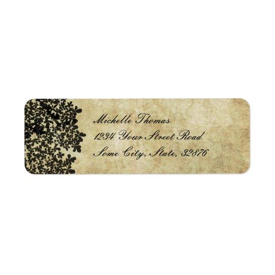 Black Floral Vintage Wedding Address Label