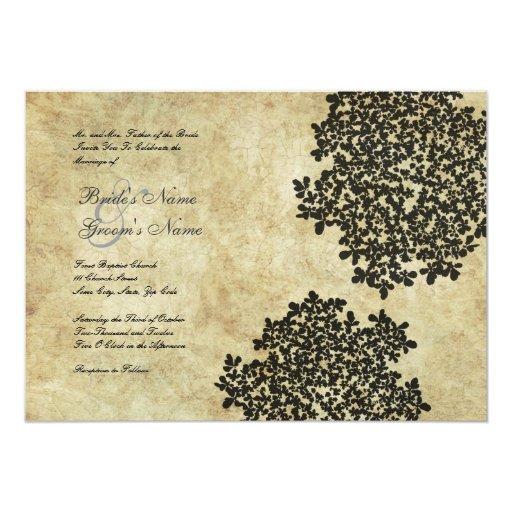 Black Floral Vintage Wedding Invitations