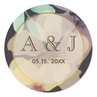 Black Floral Watercolor Wedding Favor Sticker