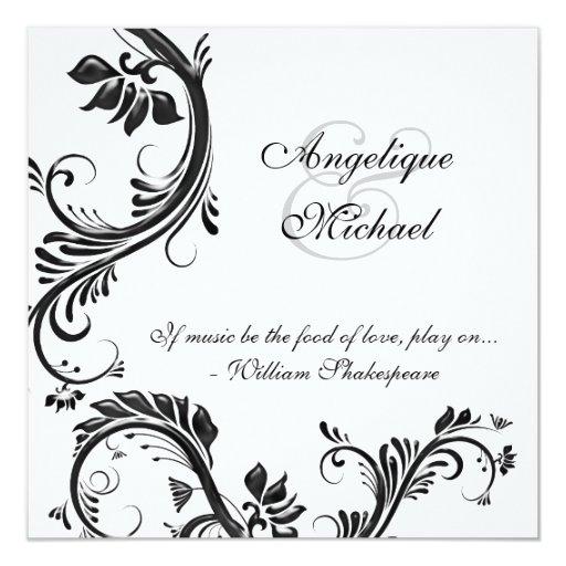 Black floral wedding anniversary engagement 5.25x5.25 square paper invitation card