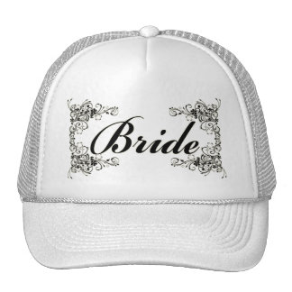 Black Floral Wedding Invitation Set Trucker Hat
