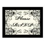 Black Floral Wedding Invitation Set Post Card