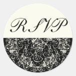 Black Floral Wedding Invitation Set Round Sticker