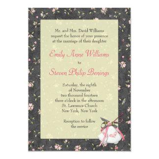 Black Floral Wedding Invitation with Church Bells