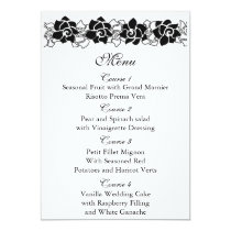 black floral wedding menu card
