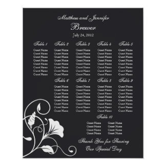Black Floral Wedding Reception Seating Chart Poster