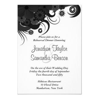 Black Floral Wedding Rehearsal Dinner Invites