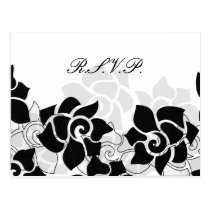 black floral Wedding rsvp card