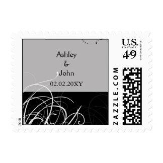 black floral wedding save the date stamp