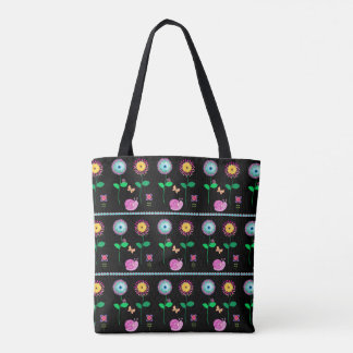 Black Floral Whimsical Bag For Beach Or Shopping