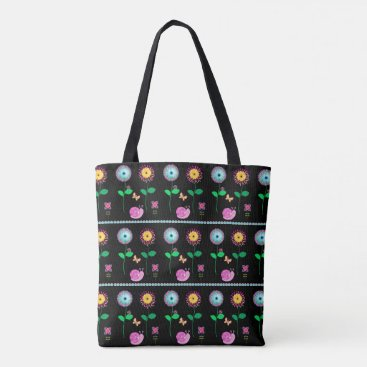 Beach Themed Black Floral Whimsical Bag For Beach Or Shopping