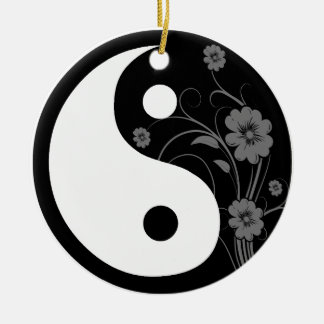 Black Floral Yin Yang Round Ornament