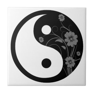 Black Floral Yin Yang Tile