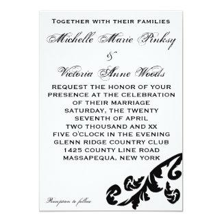 Black Flourish Lesbian Wedding Invitations