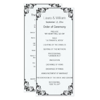 Black Flourish Wedding Program