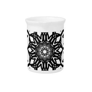 Black Flower Abstract Art Design Drink Pitchers