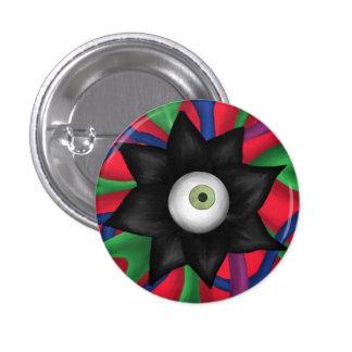 Black Flower Pinback Button