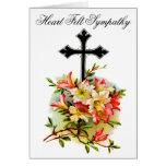 Black Flower Cross Sympathy Card 17 Greeting Card