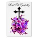 Black Flower Cross Sympathy Card 19 Greeting Card